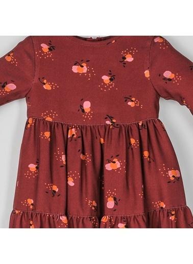 Panço Panço Elbise Uzun Kollu Kız Bebek Vişne Bordo